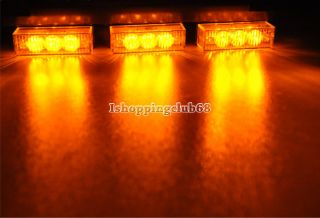 54 LED Car Truck Strobe Lights Amber Bars for Deck Dash Grille Blink Lampe IS6H