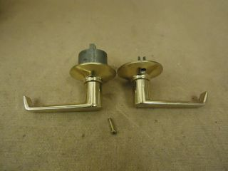Standard Door Lever Handle Set Polished Brass Passage Door Knob F605 238 Metal