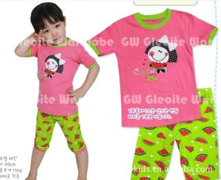 "New Baby Girls Pajamas Sleepwear Kids Pajamas T Shirt Short Pants ""Watermelon"""