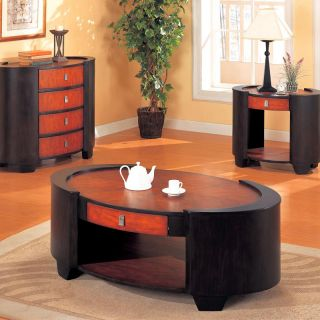 Mahogany Espresso Art Deco 3 PC Coffee Table Set