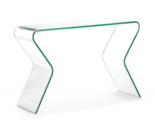 ZUO Respite Clear Tempered Glass Modern Console Sofa Table