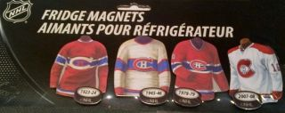 NHL Montreal Canadiens Fridge Magnets Jersey Evolution Set of 4
