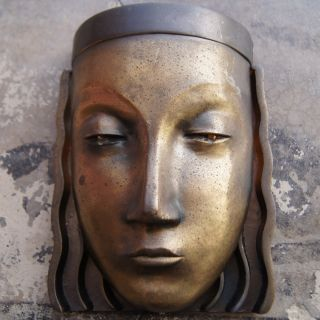 Vintage Art Deco Bronze Mask Wall Lamp