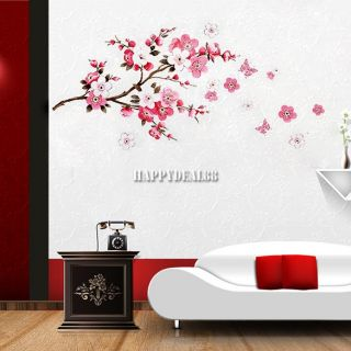 Large Peach Blossom Flower Butterfly Floral Art Decal Wall Sticker Paper Stylish