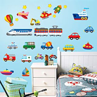 Colorful Car Train Boat Transport Kids Removable Wall Sticker Decal