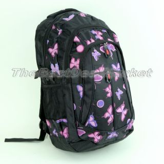 Girls Pink Butterfly Backpack College Travel Bag Camping Daypack School Bookbag