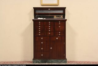 Dentist Antique 1910 Mahogany 21 Drawer Dental Cabinet Marble Base
