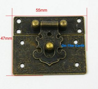 4 Antique Brass Decorative Hasp Jewelry Box Hasp Latch Lock 55x47mm with Screws