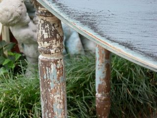 Fabulous Shabby Old Chippy Blue Dropleaf Kitchen Table Chic Painted Furniture