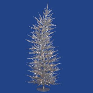 5' Pre Lit Whimsical Silver Artificial Laser Christmas Tree Clear Lights