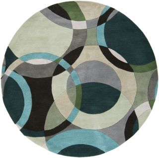 Contemporary Wool Geometric Area Rug Carved Rectangle Round Green Teal Gray