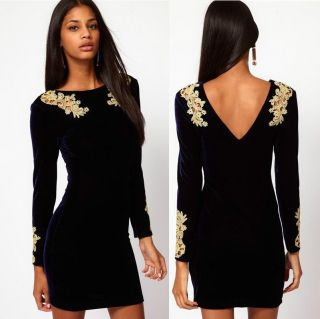 New Womens European Fashion Sexy Velvet Crocheted Lace Long Sleeve Dress B897