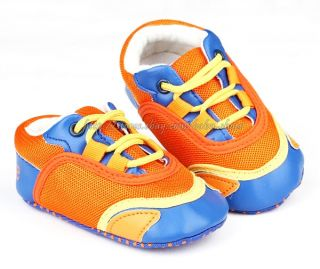 Baby Boy Crib Shoes Orange Blue Walking Sneakers Size 0 6 6 12 12 18 Months