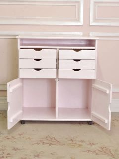 Gorgeous Shabby Cottage Chic Pink Scrapbook Storage Cabinet with 6 Drawers