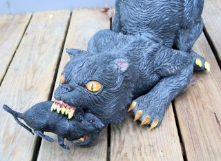 "Huge Oversized 32"" Latex Vampire Scary Black Cat w Rat Halloween Prop"