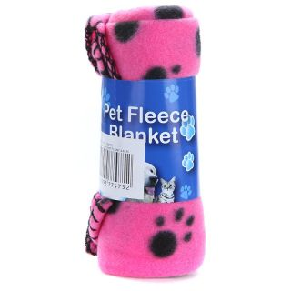 Cute Pet Dog Cat Blanket Paw Prints Soft Fleece Mat Pad Bed Cover 3 Colors