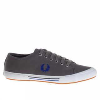 Fred Perry Vintage Tennis Canvas UK Size Grey Blue Trainers Shoes Mens New