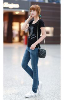 Womens Casual Slim Fit Short Sleeve Hat Printed Tee Tops Basic T Shirt