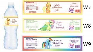 My Little Pony Printed Water Bottle Labels Birthday Party Favors Supplies