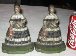 Antique Bradley Hubbard Southern Bell Lady Bonnet Dress Cast Iron Art Bookends