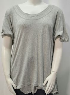 Woman Within Womens Plus 3X Solid Short Sleeve Casual Top Gray