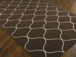 Flat Weave Wool Area Rug 9 x 12 Dark Chocolate Brown Off White