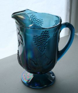 Vintage Blue Carnival Glass Harvest Grape Footed Pitcher