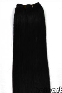"45""Wide 20""L 100g 100 Real Human Hair Weft Extensions 01 Jet Black"