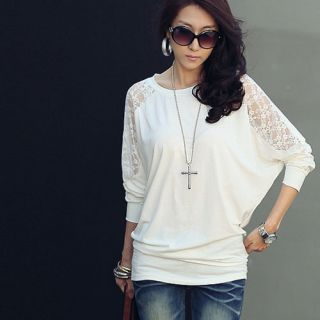 Womens Loose Batwing Top Dolman Long Sleeve Lace T Shirt Blouse Black White
