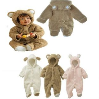 Cute Boys Girls Winter Animal Bear Fleece Jacket Coat Clothes Warm Romper 0 24M