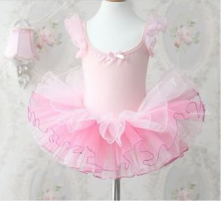 Girl Birthday Party Leotard Ballet Tutu Dance Skate Skirt Dress Sz 3 8Y