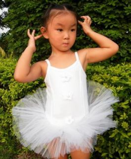Hot Pink White Fairy Girl Party Leotard Ballet Tutu Dance Skate Dress 2 6Y