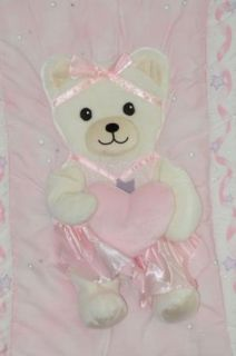 Kidsline Pink Ballerina Teddy Bear Crib Comforter Baby Bedding Diamonds