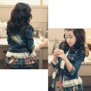 Girls Kids Jean Coat Jacket Outwear Denim Pearl Button Tulle Costume Cowboy 3 7Y