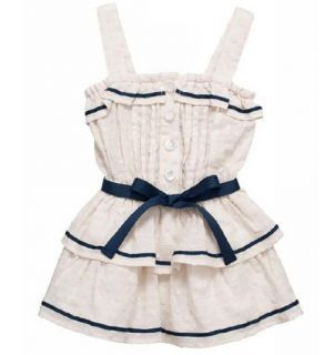 Baby Girls Dress 1 Tank Sleeveless Blue Bow Cotton Ruffles Dress 18 24 M