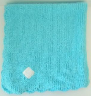Turquoise Aqua Blue Angel Dear Chenille Baby Blanket