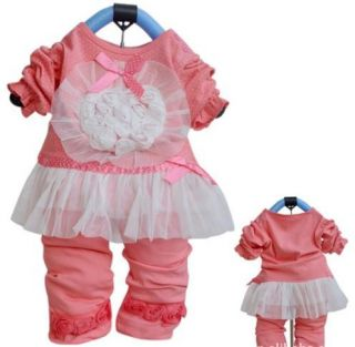 2 PC Baby Toddler Girl Dressy Cotton Outfit L s Set 6 12 18 24 Months