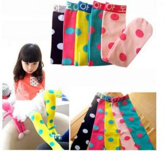 New Kids Toddlers Girls Soft Knee High School Socks 2 8Y Tights Leggings Dot