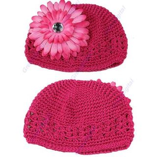 New 15 Knitting Crochet Kufi Beanie Girl Baby Toddler Handmade Hat with Flower
