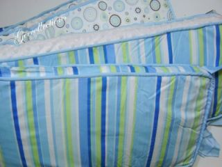 "Caden Lane Baby Boys Blue Green Stripes Circle Dots Crib Bumper Pad Squares ""EUC"