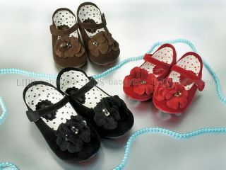 New Kids Girl Flower Brown Mary Jane Shoes Size 5 6 7 8