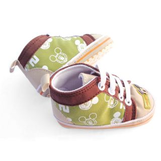 Infant Baby Toddler Boys Green Mickey Mouse Canvas Shoes 3 18 Months SA145