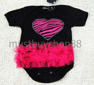 Lovely Baby Girl Pink Heart Black Tutu One Pieces 1 12 Months