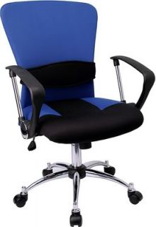 Secretary Office Desk Chair Fabric Chrome Swivel New
