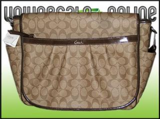 Authentic Coach Signature PVC Coated Canvas Baby Messenger Bag Khaki $358