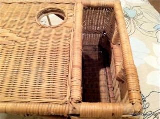 Vintage Brown Wicker Rattan Breakfast in Bed Serving Tray or Writing Desk Table