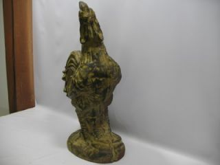 Antique Large Heavy Cast Iron Rooster Doorstop Chicken Door Stop Folk Art Statue