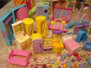 350 PC Polly Pocket Clothes Hotel Ranch Houses Play Sets Plus Accessories