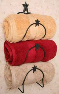 Star Accented Three Towel Holder Wall Mount Black Bath Accessories