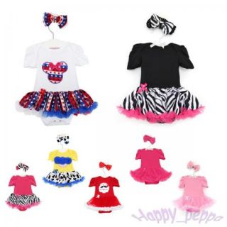 Newborn Infant Baby Girl Headband Romper Jumpsuit Tutu Dress Clothes Outfit
